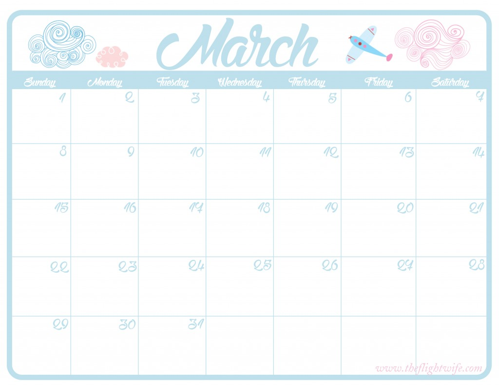 Freebie Time!  Airplane Themed Calendar