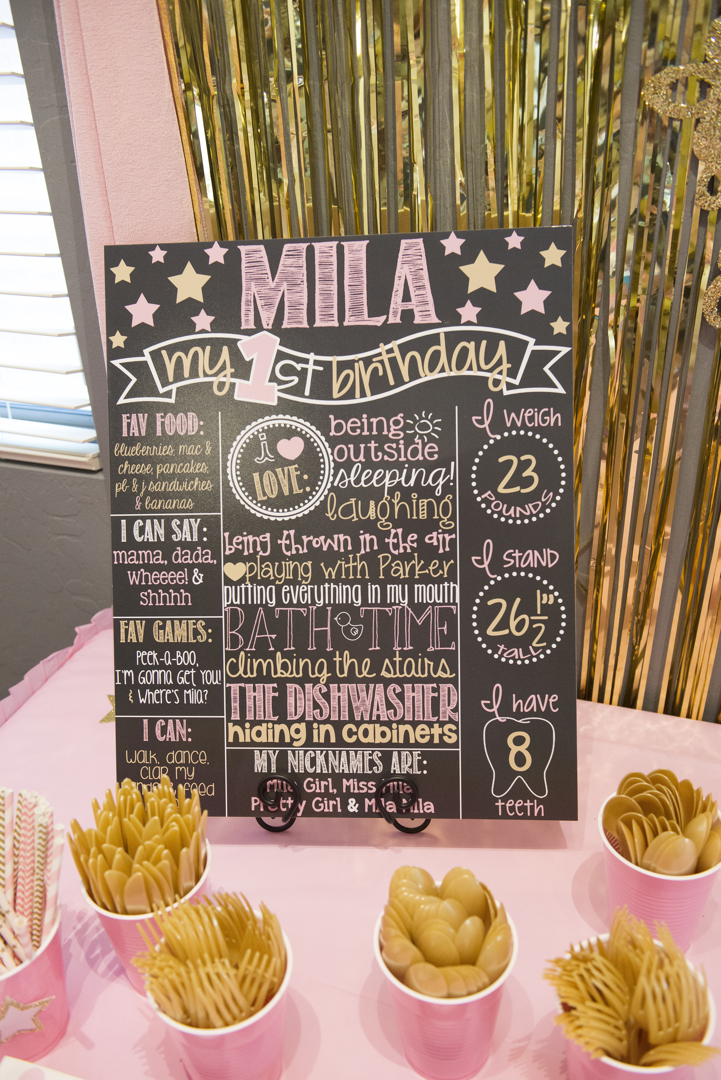 Miss Mila S First Birthday Party Pink Amp Gold Twinkle Twinkle Little Star Theme The Flight Wife