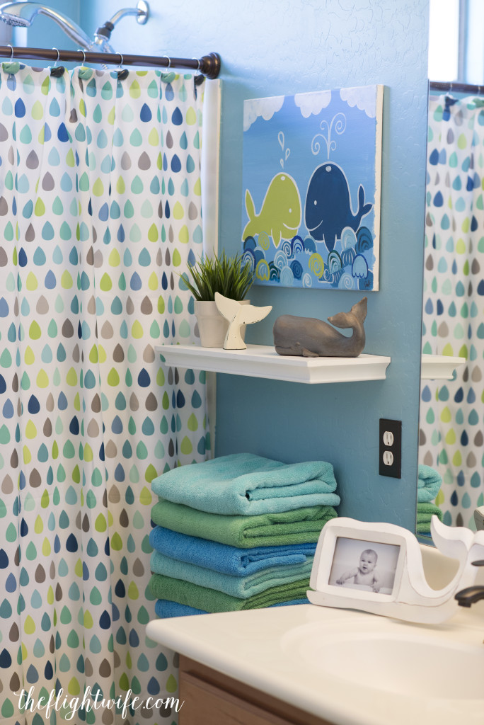 Kids bathroom makeover fun and friendly whales the for Kids bathroom accessories